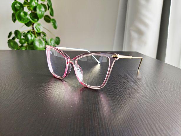 Okulary zerówki oprawki kocie różowe oversize transparent sezon 2020
