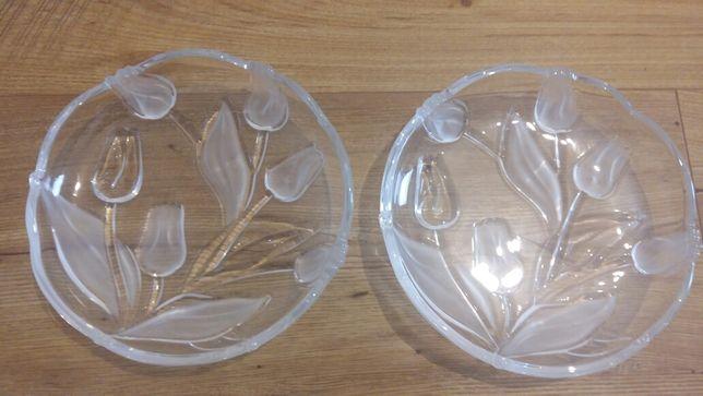 2 talerze kryształowe