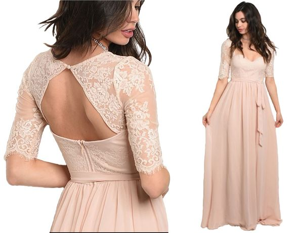 suknia ślubna wesele koronka nude róż styl boho 34 XS, 36 S, 38 M