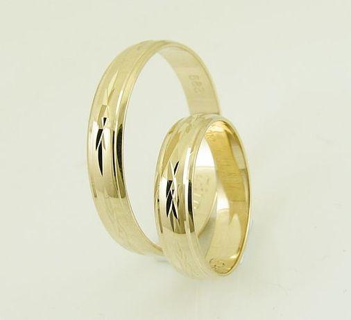 Złote obraczki półokrągle 4 mm super cena
