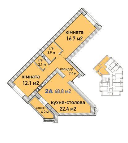 Просторная 2-х комнатная квартира, рассрочка в гривне