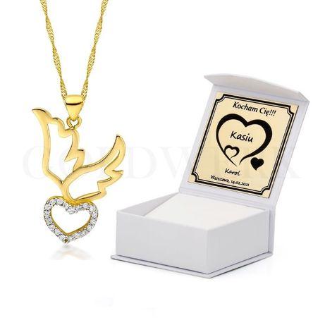 GRAWER Złoty 585 Łańcuszek z Sercem Serduszkiem Serce na Walentynki