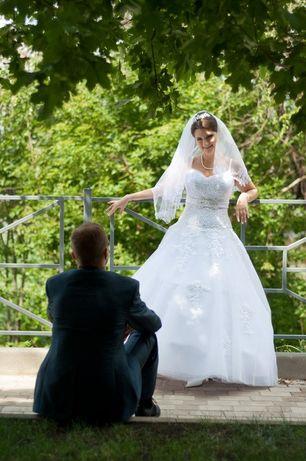 Свадебное платье, 46р, шнуровка