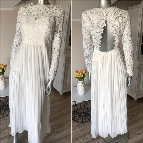 Nowa suknia ślubna 38 M koronka długi rękawek koronkowy odkryte plecy