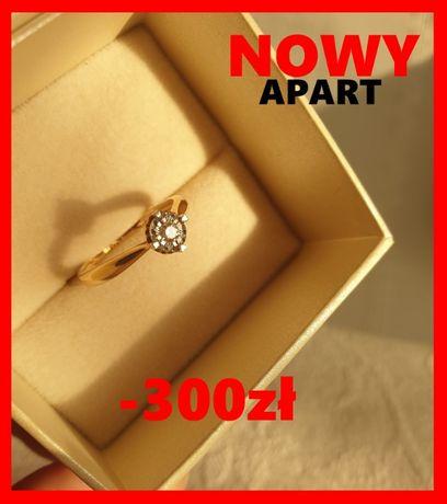 APART nowy pierścionek diament 14k Złoto obrączka z pr 585 brylant au