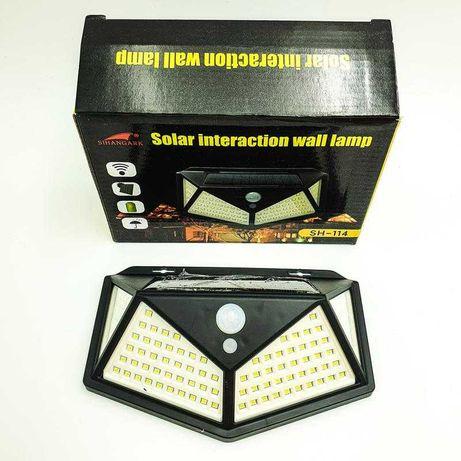 Фонарь 100 LED с датчиком движения, освещения на солнечной батарее
