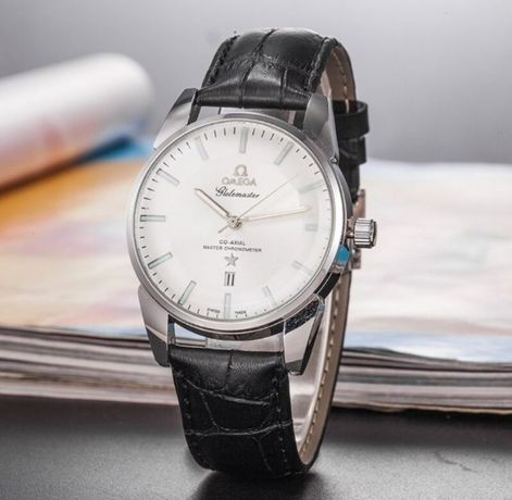 Zegarek męski Omega, 100% nowy, czarny pasek, jasna tarcza, datownik