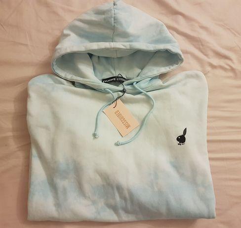 Bluza Playboy x Missguided niebiesko-biala Tie Dye rozmiar 36/M