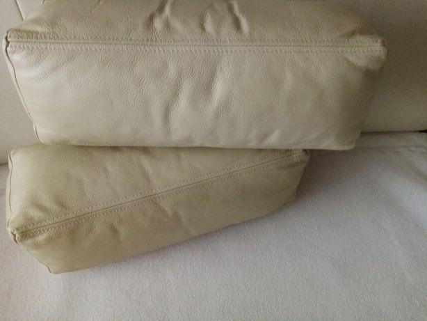 Poduszki skórzane kolor kremowy. OBNIŻKA CENY