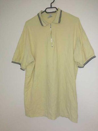 Żółta koszulka polo z metalowym suwakiem