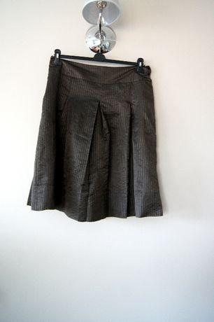 szara brazowa khaki spodnica rozkloszowana spodniczka w krate 44 XXL