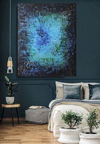 Obraz abstrakcja 100 x 120 granat głębia turkus złoto