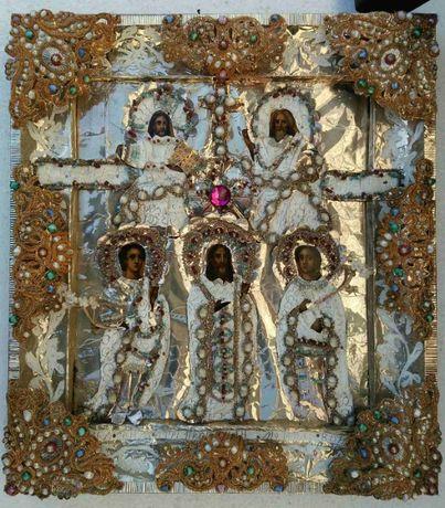 Старинная икона *Дмитрий Солунский,Иоан Воин,Стефан Махрищский,Троица*