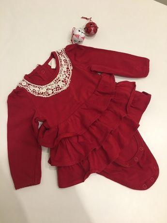 Новогодний боди платьице на девочку 2-4 месяца