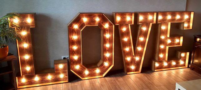 Napis LOVE drewniany rustykalny retro litera 120/80 WOLNE TERMINY