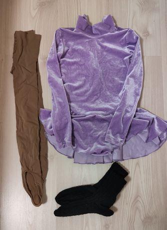 Платье бархатное для фигурного катания, рост 124