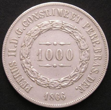 moneta Brazylia 1000 reis 1866 - srebro