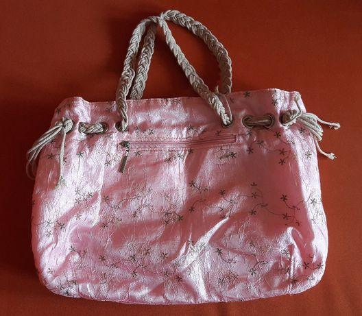 torba shopper różowa materiał lekka A4