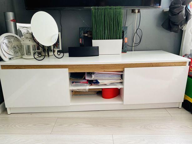 Szafka RTV biało drewniana