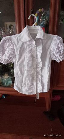 Белые блузки для девочки 122-128
