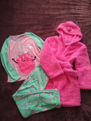 Комплект халат + пижама для девочки можно для двойни близнецов