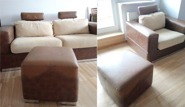 Zestaw mebli sofa rozkładana krzesło i dwie pufy:)