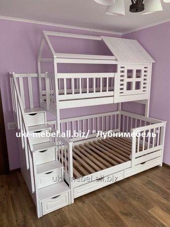 Кровать двухъярусная Домик Плюс,двоярусне (двоповерхове)ліжко