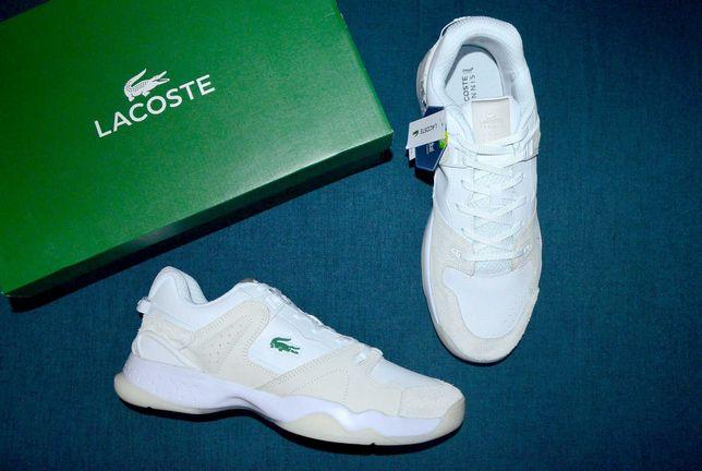 Крутые кожаные белые кроссовки Lacoste T-point 47 размер Доставка