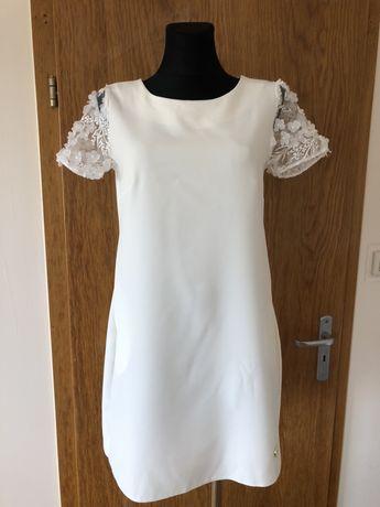 LB Store biała sukienka minimalistyczna rekaw 3D kwiaty uniwersalny 38
