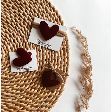Opaska spinka handmade komplet serce