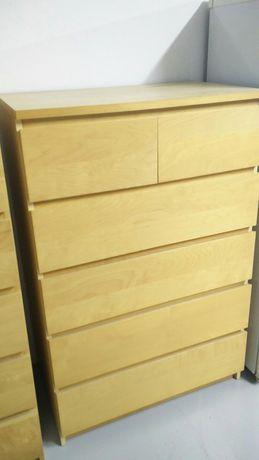 MALM cómoda IKEA 6 gavetas, chapa carvalho 80x123cm