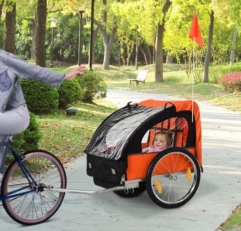 Przyczepka rowerowa z pasami dla 2 dzieci