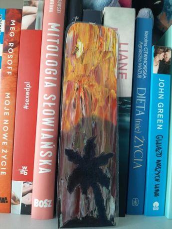 Wakacyjna zakładka do książki handmade ręcznie robiona malowana palma