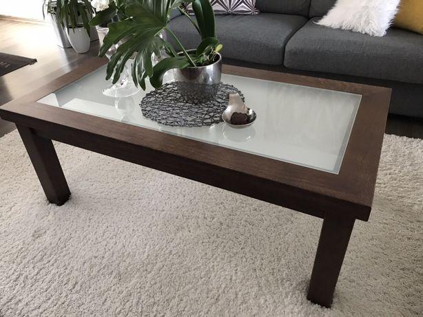 Stolik kawowy ciemne drewno/szkło