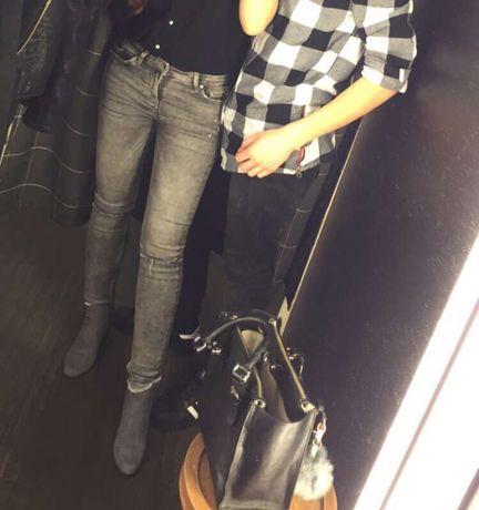 Szare jeansy z dziurami Zara