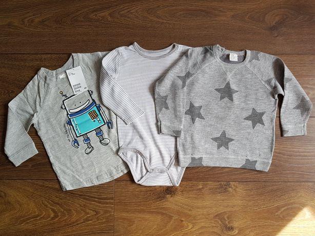 Zestaw bluzek t-shirt body sweterek gwiazdy H&M 74 80