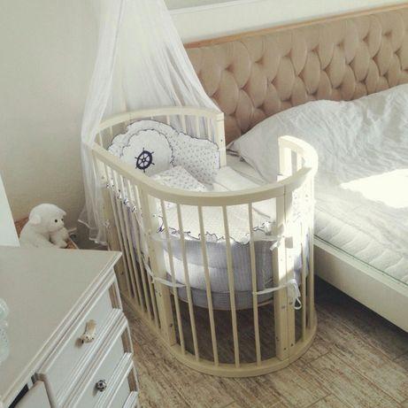 Круглая кроватка 9в1 Ovalbed слоновая кость