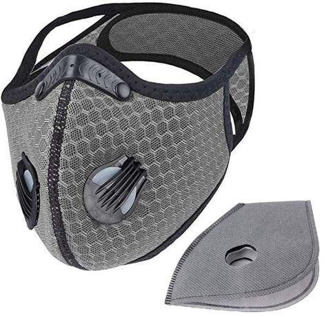Maska sportowa antysmogowa szara + filtry