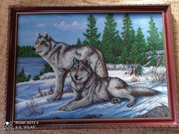 Картина бисером  - Волки 64 см * 46 см
