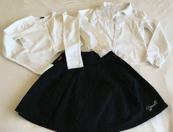 REPORTER świetna spódnica, 2 bluzki i bolerko r.152