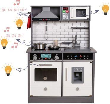 Duża drewniana kuchnia dla dzieci LED + DŹWIĘKI + GRATIS