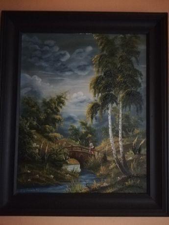 Obraz olejny:Na moście.