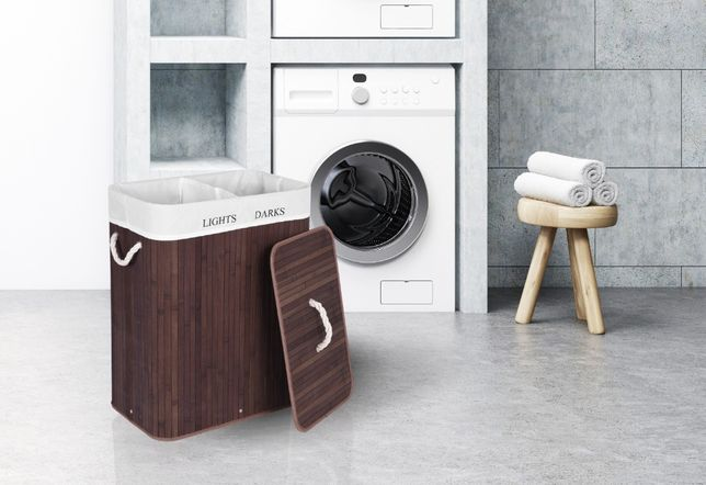 Kosz bambusowy pojemnik na pranie 2 komorowy wenge 100L