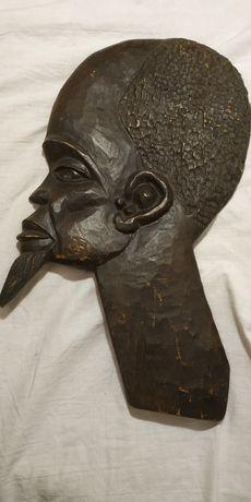 Płaska figurka figura murzynka 1982 murzynek na ścianę prl