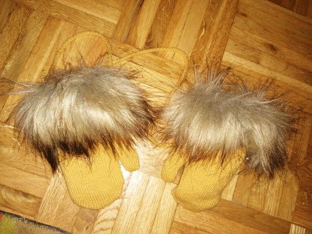 Czapka i rękawiczki zimowe 86-92 Rękawiczki jak nowe raz zalozone