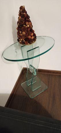 Piękny i nietuzinkowy szklany stolik do kawy, pod lampkę, nocny