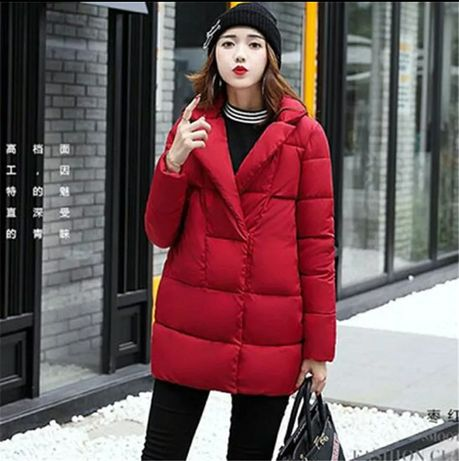Женская удлиненная дутая куртка осень-зима на кнопках oversizе