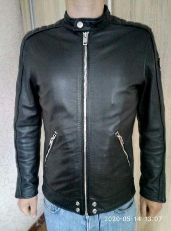 Чёрная кожаная куртка Diesel l-quad, размер М