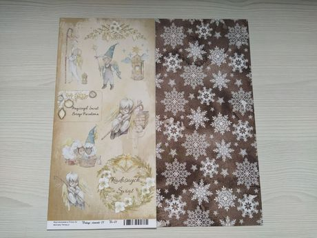 scrapbooking papiery 2 stronne wycinanki z motywami zimowymi 15x31 cm