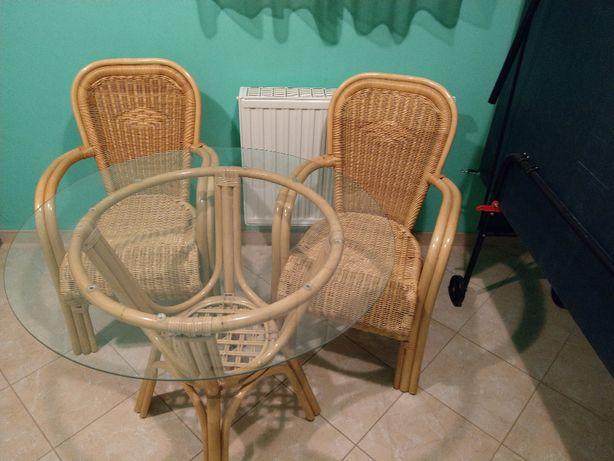 Stół rattanowy ze szklanym blatem + krzesła